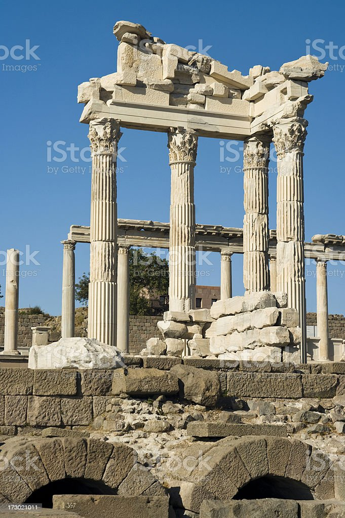 Temple of Trajan at Pergamon stock photo