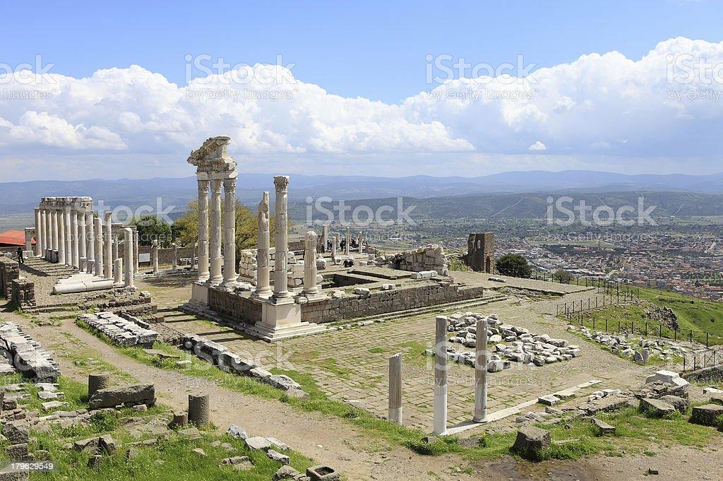 Temple of Trajan at Pergamos royalty-free stock photo