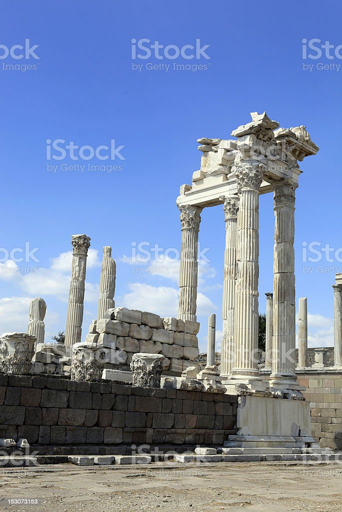 Temple of Trajan in the Ancient Greek City Pergamon royalty-free stock photo