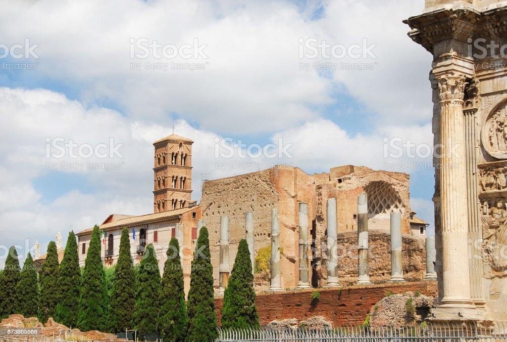 Temple of Venus and Arch of Constantine with clouds stock photo