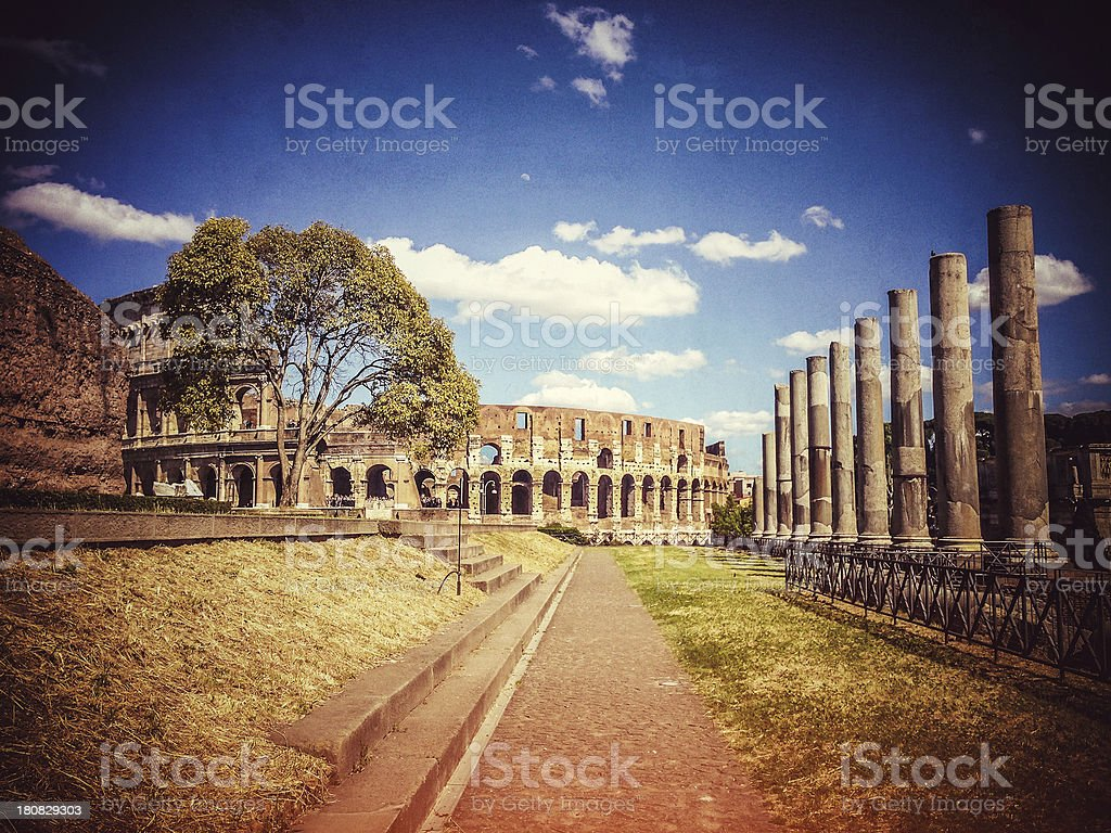 Temple of Venus and Roma by the Coliseum stock photo