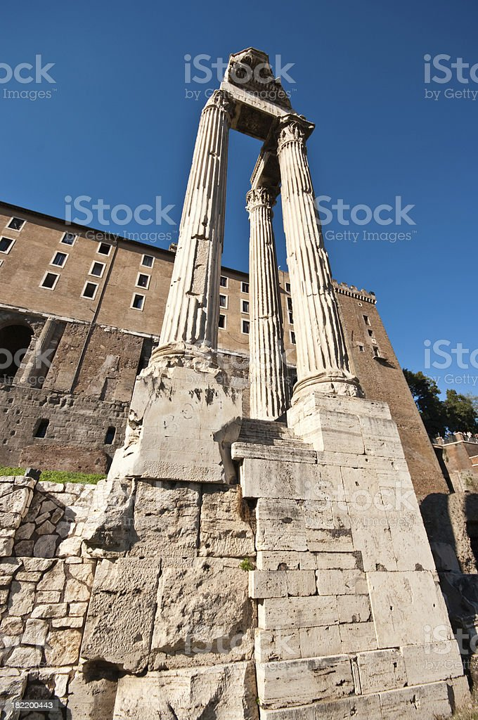 Temple of Vespasian and Titus royalty-free stock photo
