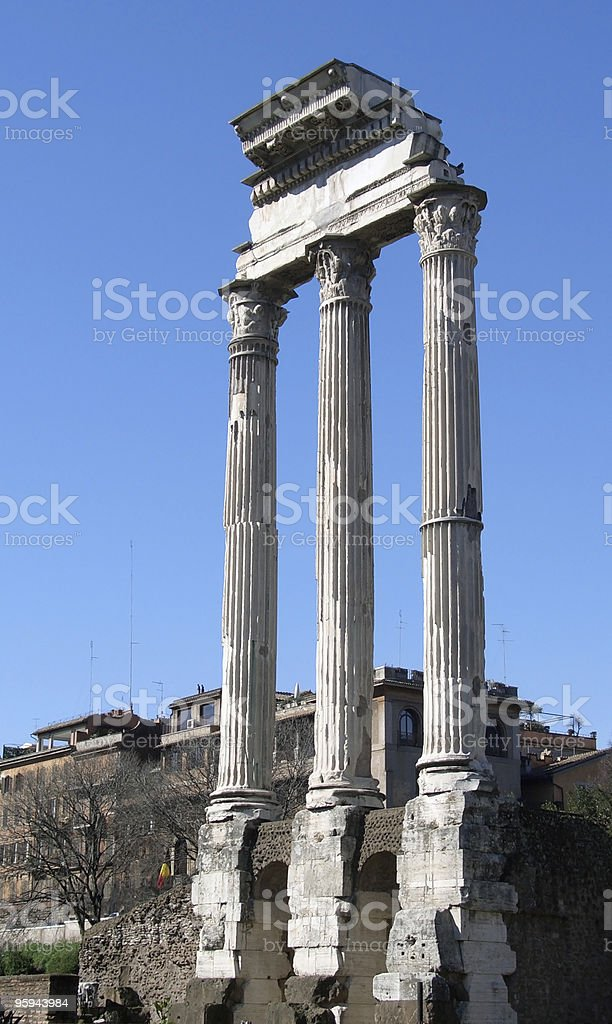 Temple of Vespasian columns royalty-free stock photo