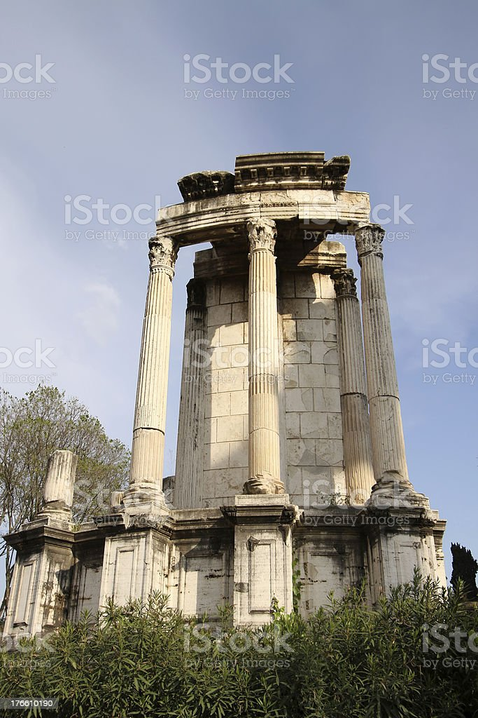 Temple of Vesta in Roman Forum stock photo