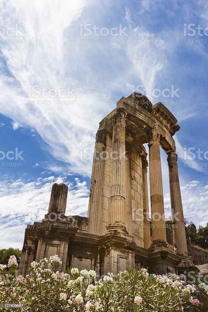 Temple of Vesta Ruins stock photo