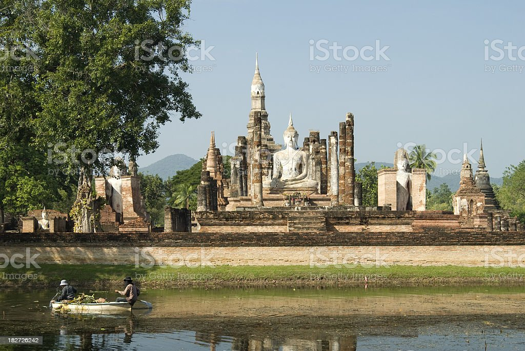 Temple of Wat Mahathat in Sukhothai in Thailand stock photo