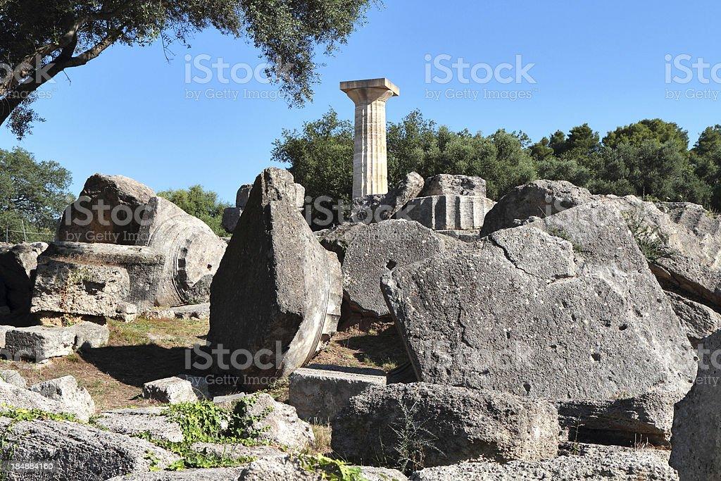 Temple of Zeus, Ancient Olympia, Illia Region, Peloponnese, Greece royalty-free stock photo