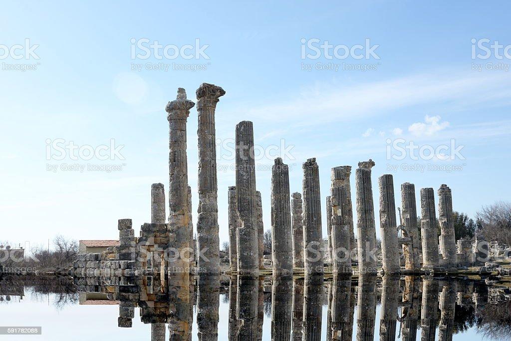 Temple of Zeus, in Uzuncaburc Olba , Mersin - Turkey stock photo