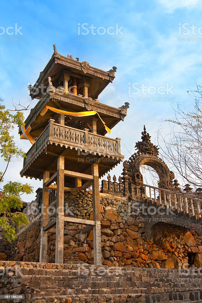 Temple  on a sunset. Indonesia. Bali. stock photo