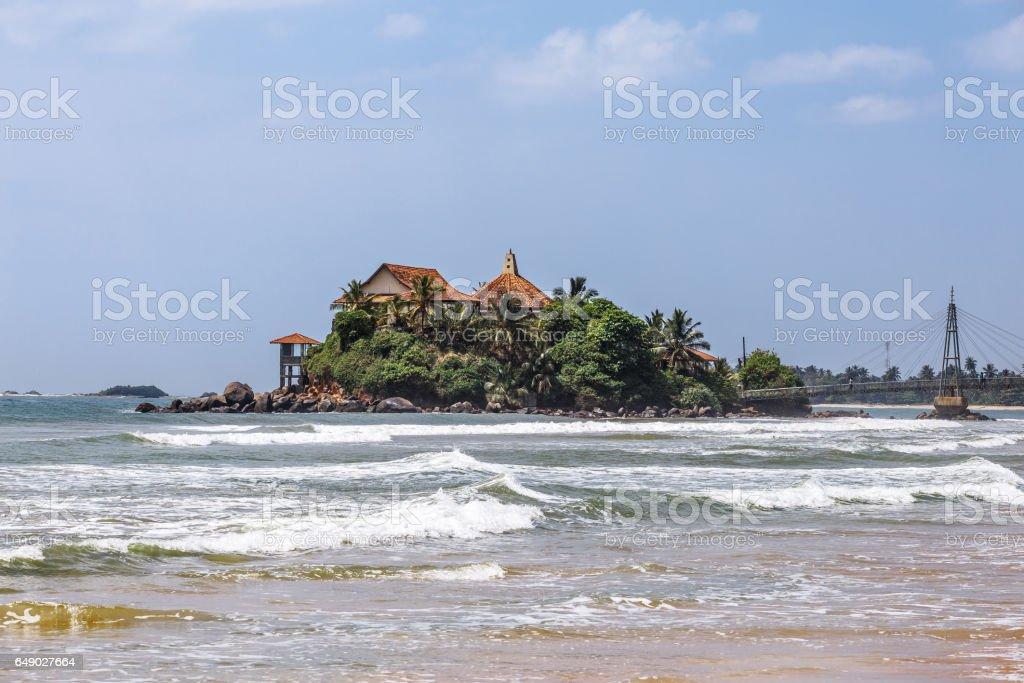 Temple on an island in Matara. Sri lanka. stock photo