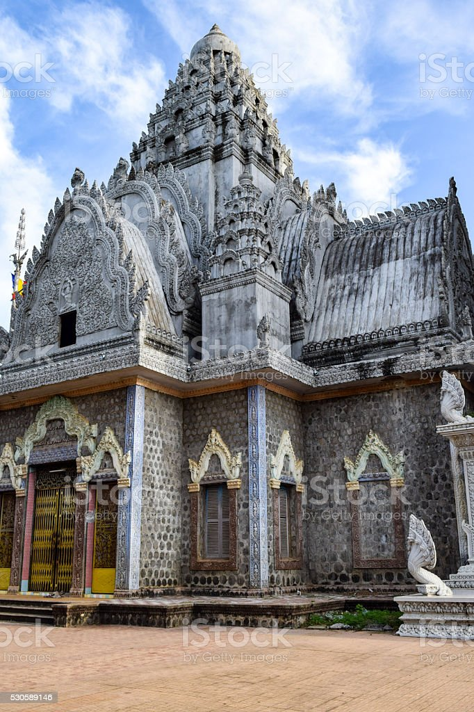 Temple on 'Man Mountain', site of 1975-79 tortures by KhmerRouge stock photo