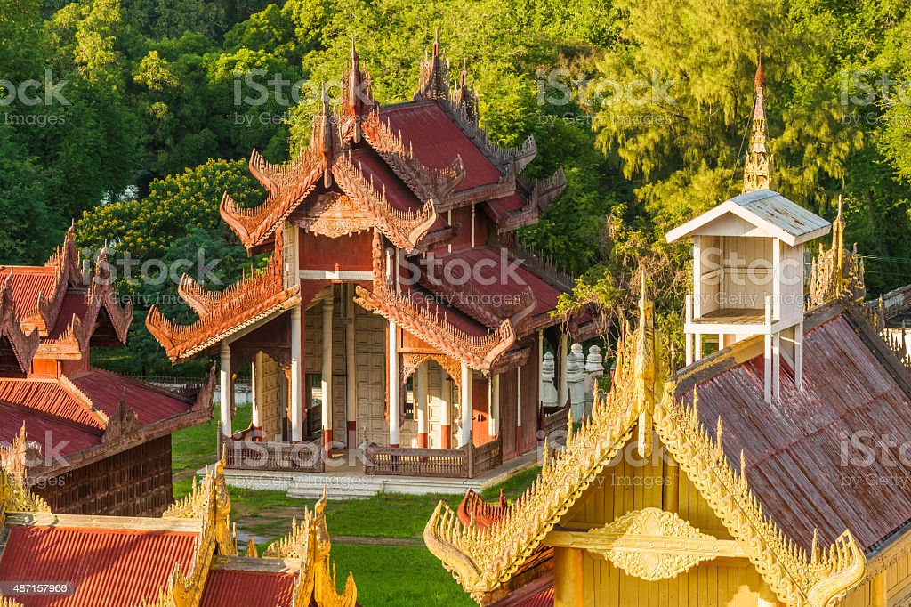 Temple on the Mandalay Royal Palace grounds stock photo