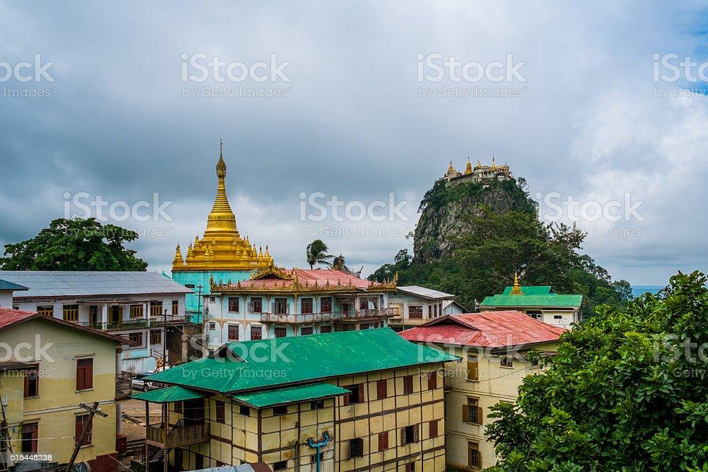 Temple on Top of Mount Popa, Myanmar stock photo
