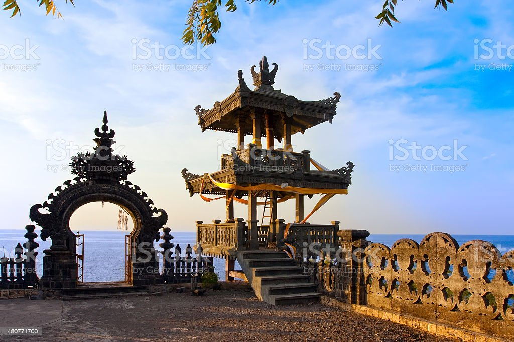 Temple over ocean on a sunset. Indonesia. Bali stock photo