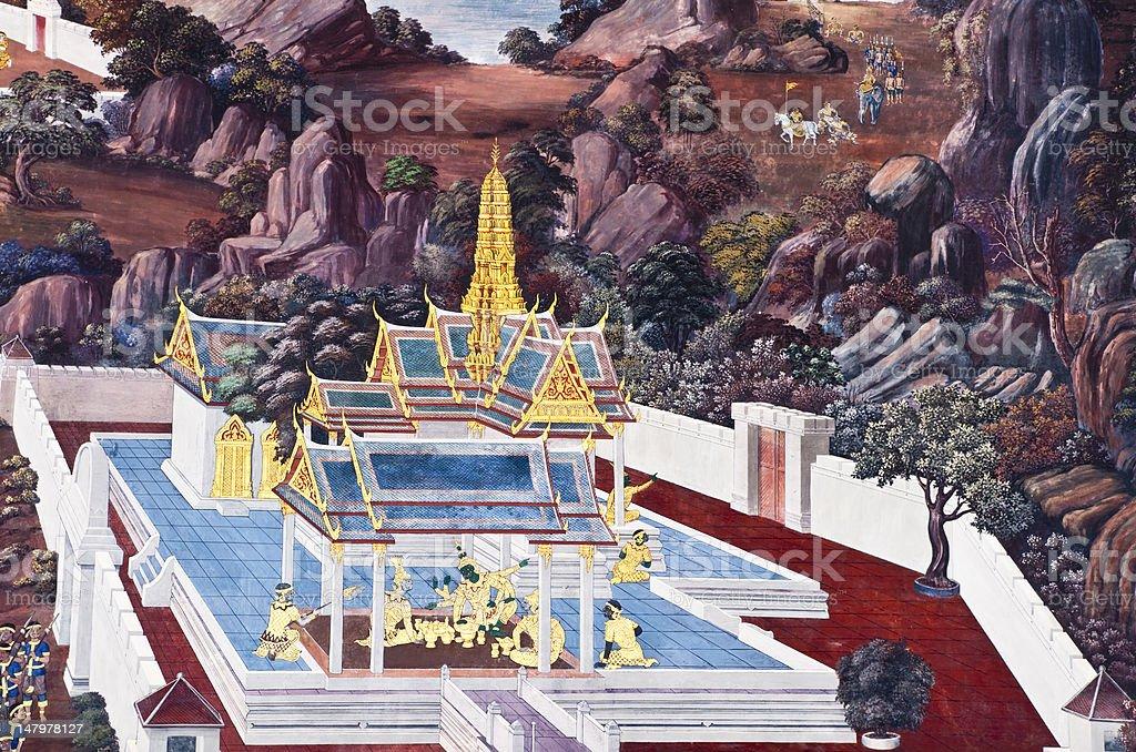 Świątynia Malarstwo w Bangkoku w Tajlandii ramakien zbiór zdjęć royalty-free