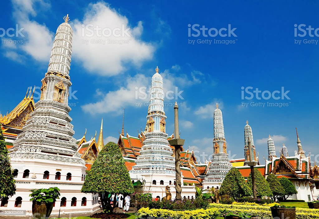 Temple  Phra Kaew, Bangkok, Thailand stock photo