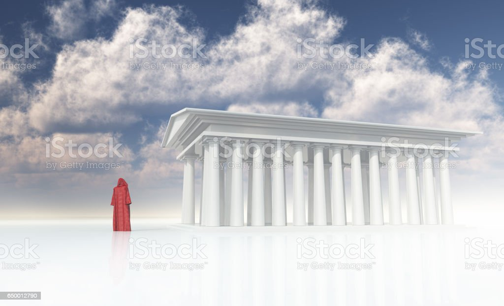 Temple priests attend to the temple fires stock photo