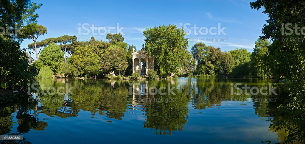 Temple reflected, Rome royalty-free stock photo