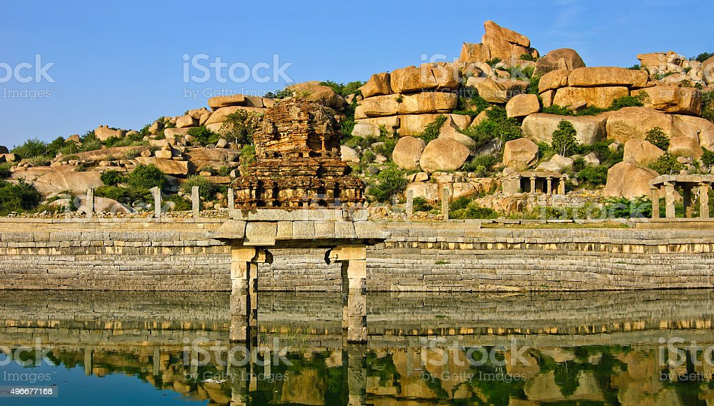 Temple reservoir of the Vitthala temple complex  in Hampi,  India. stock photo