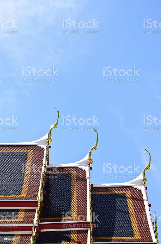 Temple roof against blue sky, Thailand royalty-free stock photo