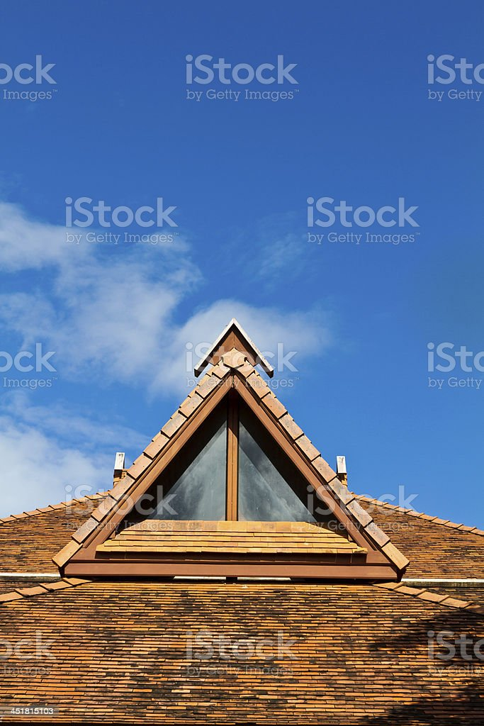 Temple roof and sky in Thailand. royalty-free stock photo
