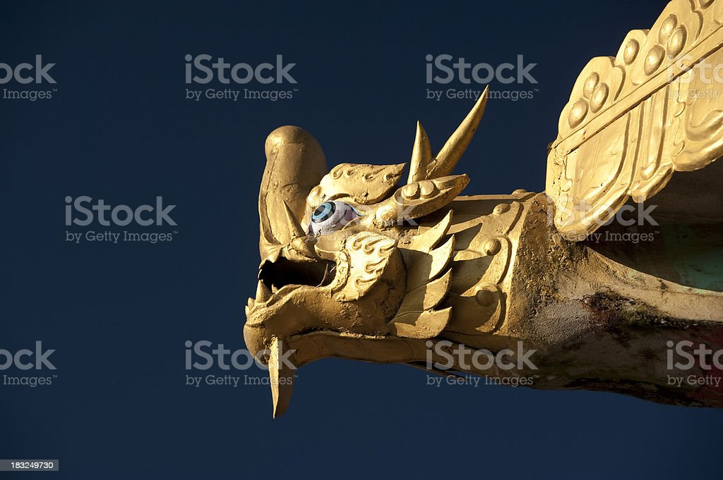Temple Roof Finial, Golden Dragon royalty-free stock photo
