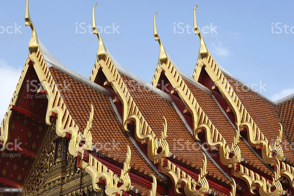 Temple Roof Tile Pattern at Wat Benchamabophit Bangkok, Thailand royalty-free stock photo