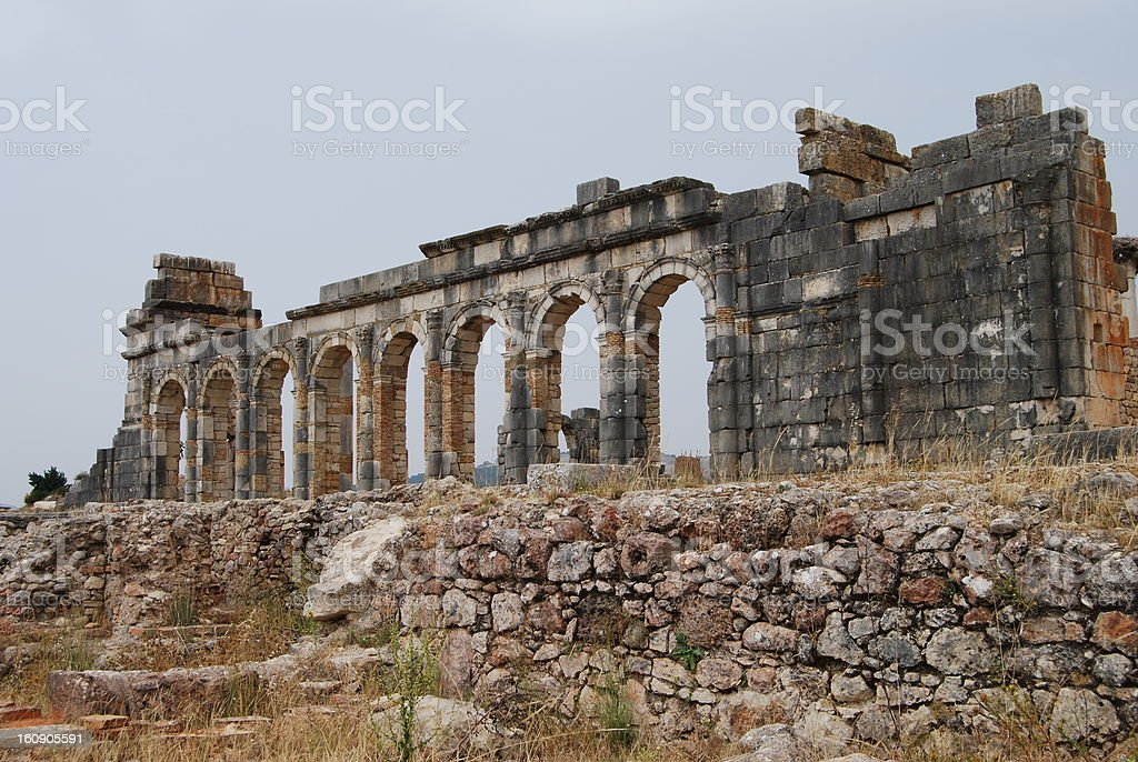 Temple Ruins at Volubilis stock photo