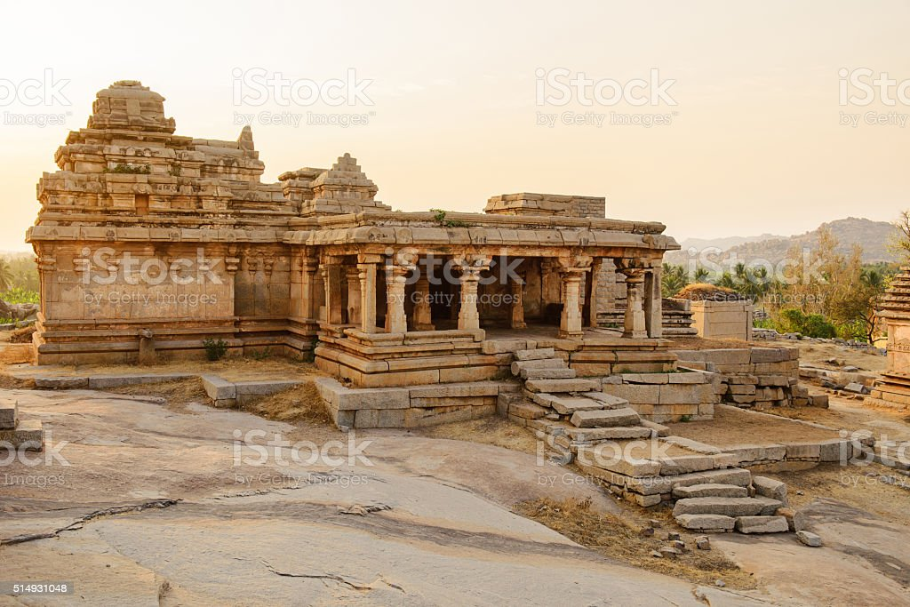 Temple ruins in Hampi stock photo