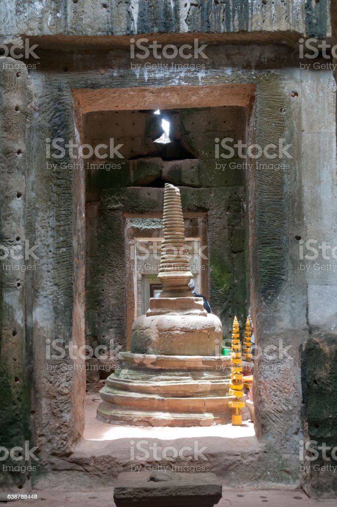 Temple stupa in Angkor stock photo
