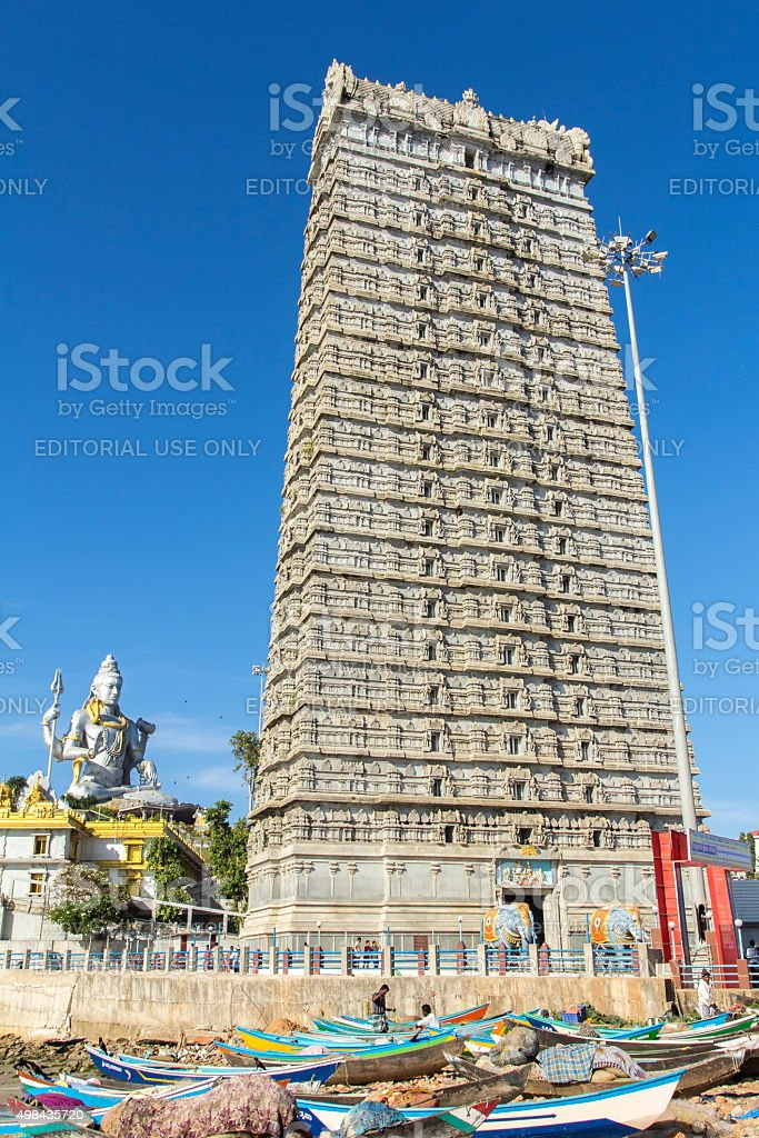 Temple tower, Murudeshwar, Karnataka, India stock photo