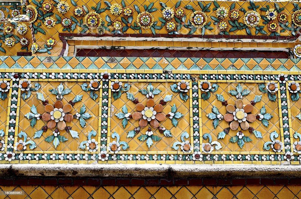 temple wall ornate ceramic, Thailand royalty-free stock photo