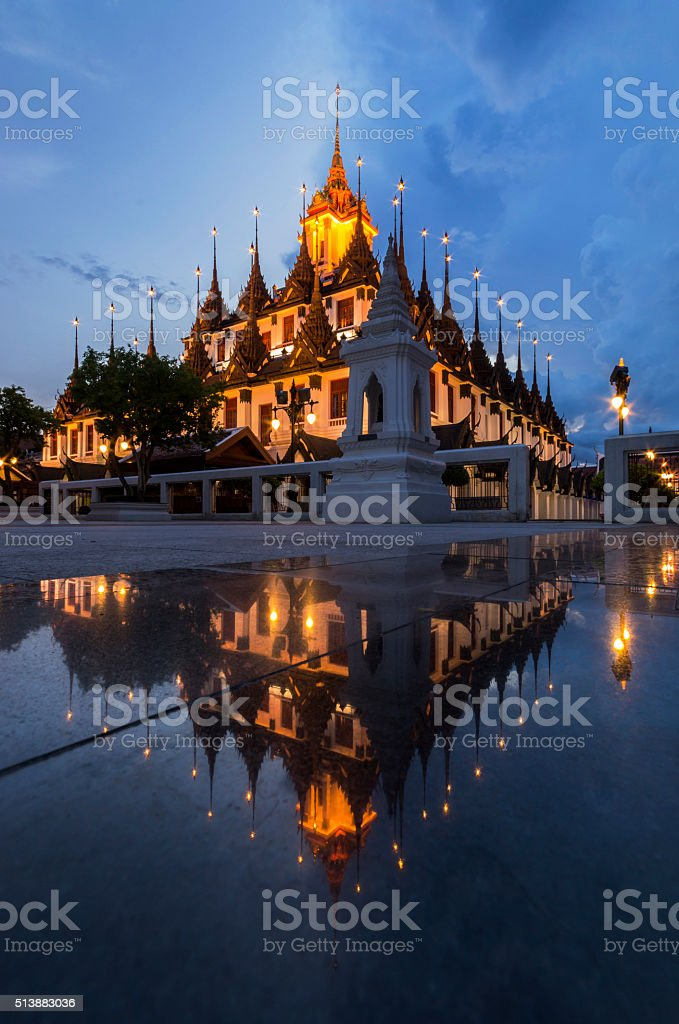 temple Wat Ratchanadda metallic castle Bangkok Thailand stock photo