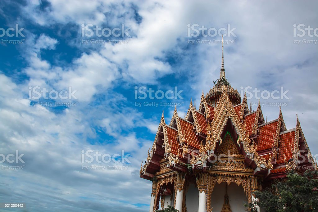 temple with beautiful blue sky have blank space for text stock photo