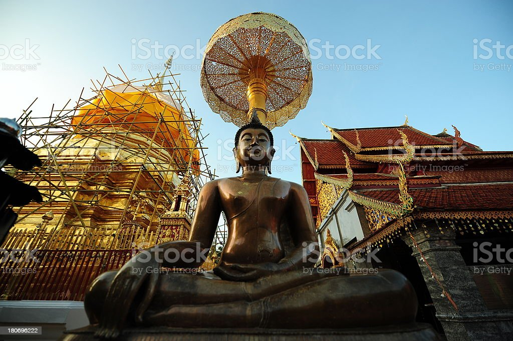 Temple with blue clear sky in thailand royalty-free stock photo