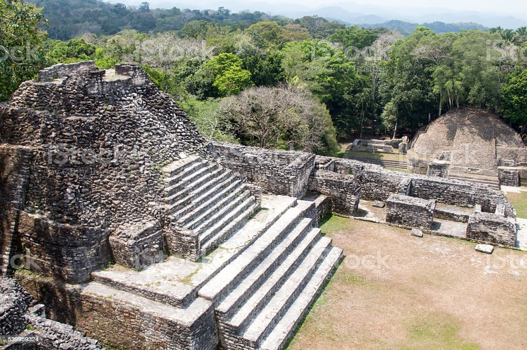 Temples and ruins at Caracol in Belize stock photo