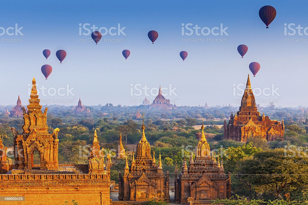 temples in Bagan, Myanmar stock photo