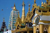 Temples in the Shwedagon Pagoda complex - Yangon