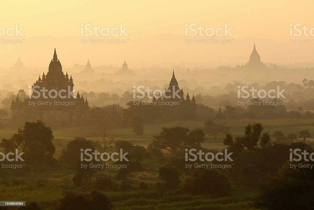 temples just after sunrise in Bagan stock photo