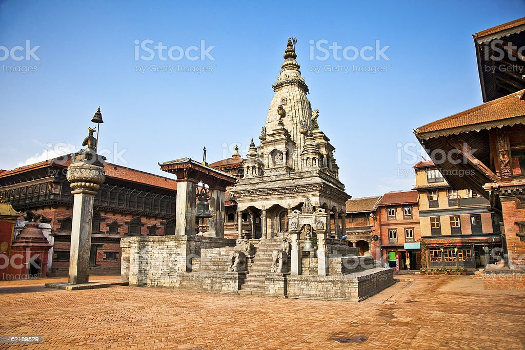 Temples of Durbar Square in Bhaktapur, Nepal. stock photo