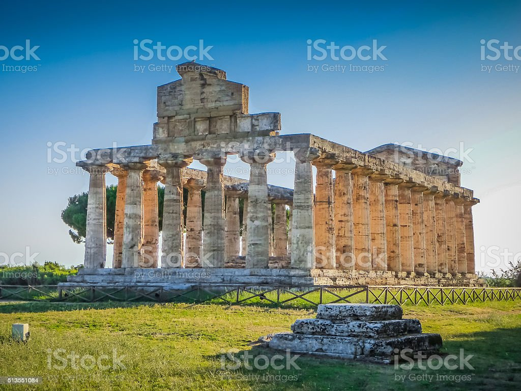 Temples of Paestum Archaeological Site, Campania, Italy stock photo