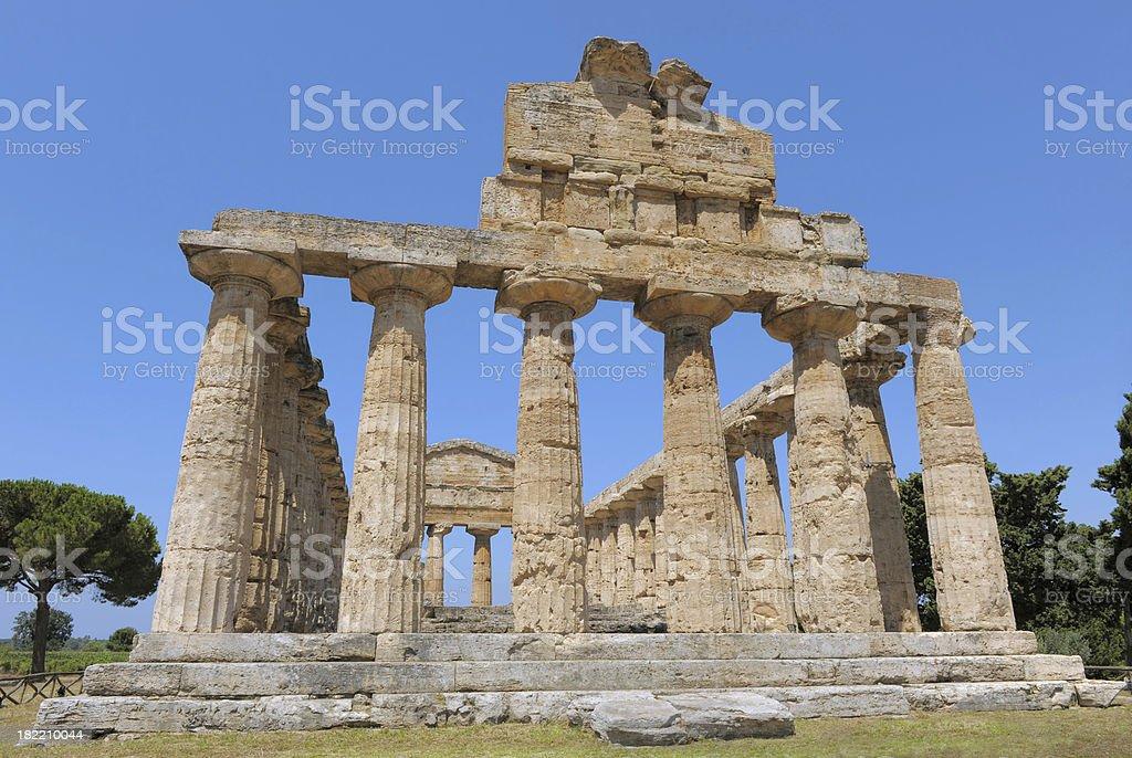 Temples of Paestum, near Naples, Italy stock photo