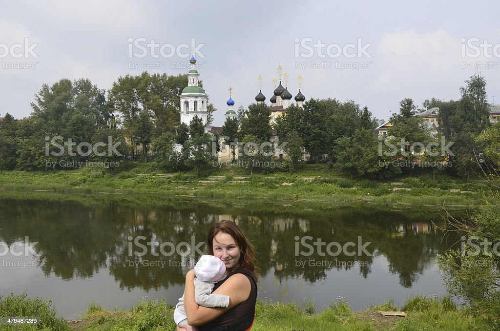 Temples of Russia, mother and child royalty-free stock photo