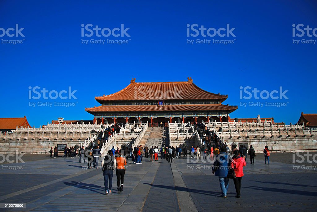 Temples of the Forbidden City in Beijing China stock photo