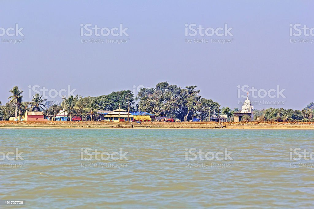 Temples on the bank of Chilika stock photo
