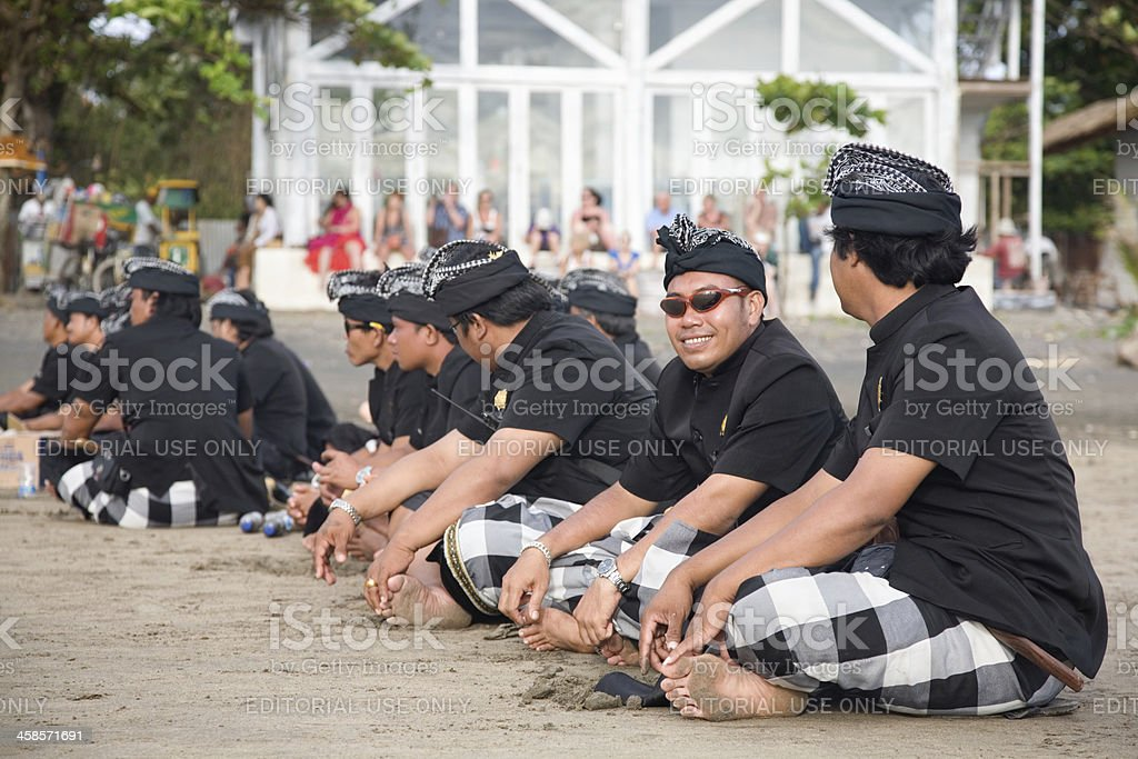 Temple's secuity in Melasti Day Bali royalty-free stock photo