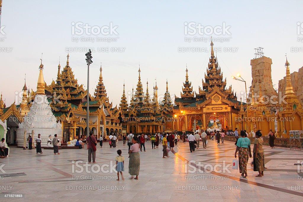 temples surrounding Shwedagon pagoda_Yangon stock photo