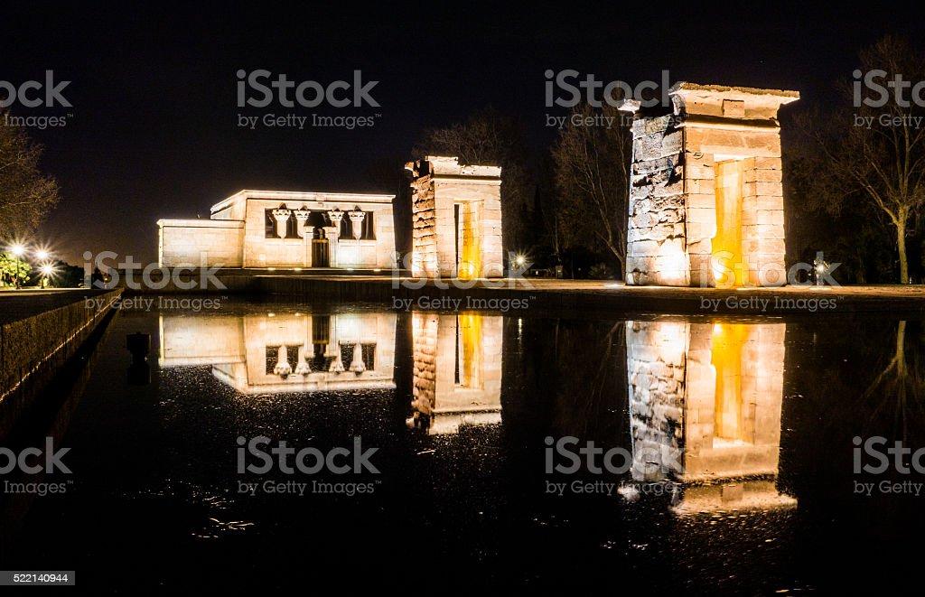 templo debod madrid temple night egypt reflection horizontal stock photo