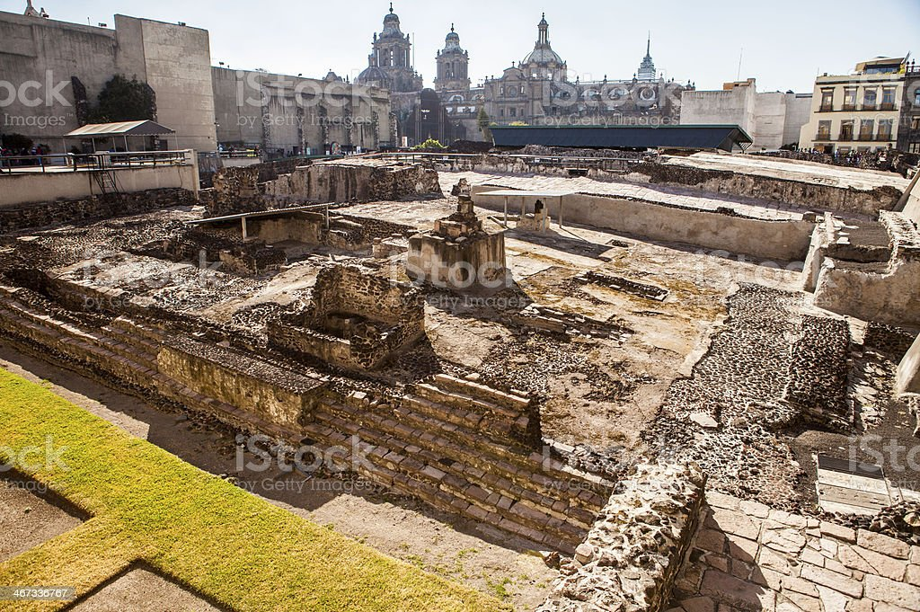 Templo Mayor, Temple, ruin, Mexico city stock photo
