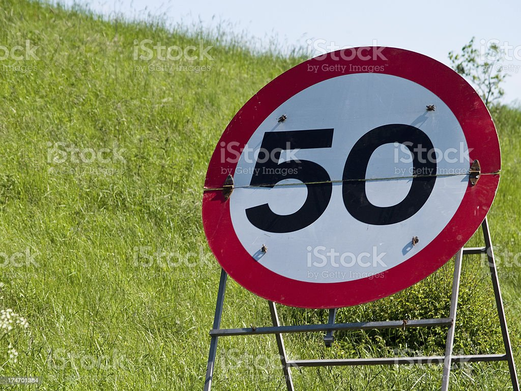 Temporary 50 mph speed restriction sign royalty-free stock photo